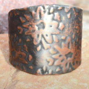 Floral Wide Cuff Copper Boho Hippie Statement